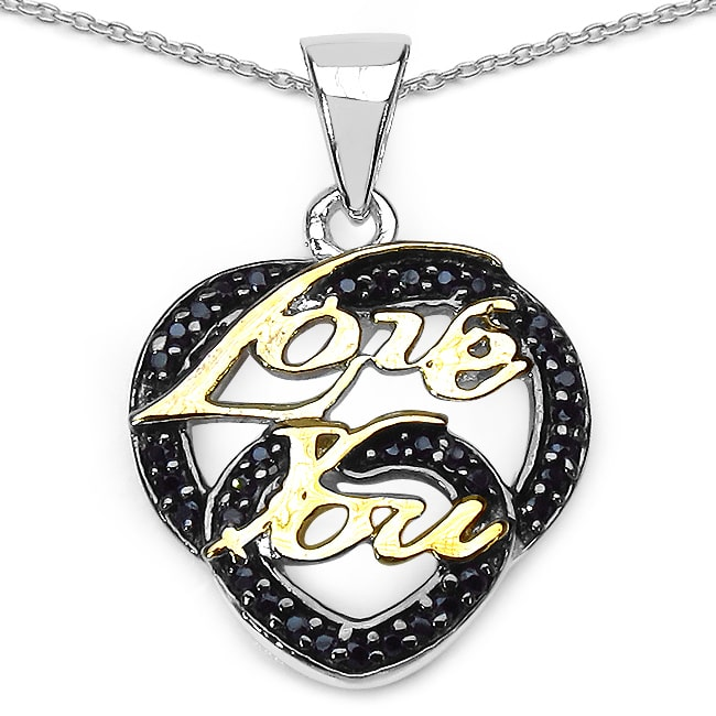 JEWELRYAUCTIONSTV Two-tone Sterling Silver Black Spinel Double Heart 'Love You' Necklace
