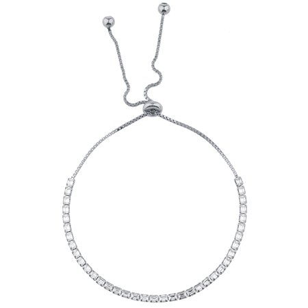 Lux Accessories SilverTone Baguette Rhinestone Tennis Bracelet Slider Bracelet ()