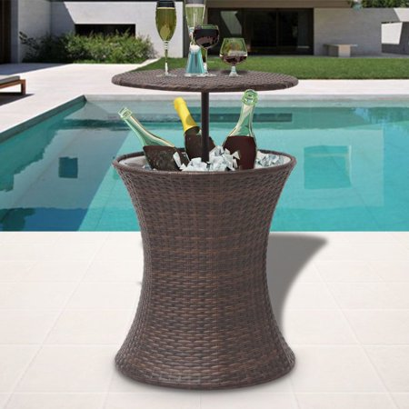 vidaXL Ice Cooler Bucket Table Poly Rattan -