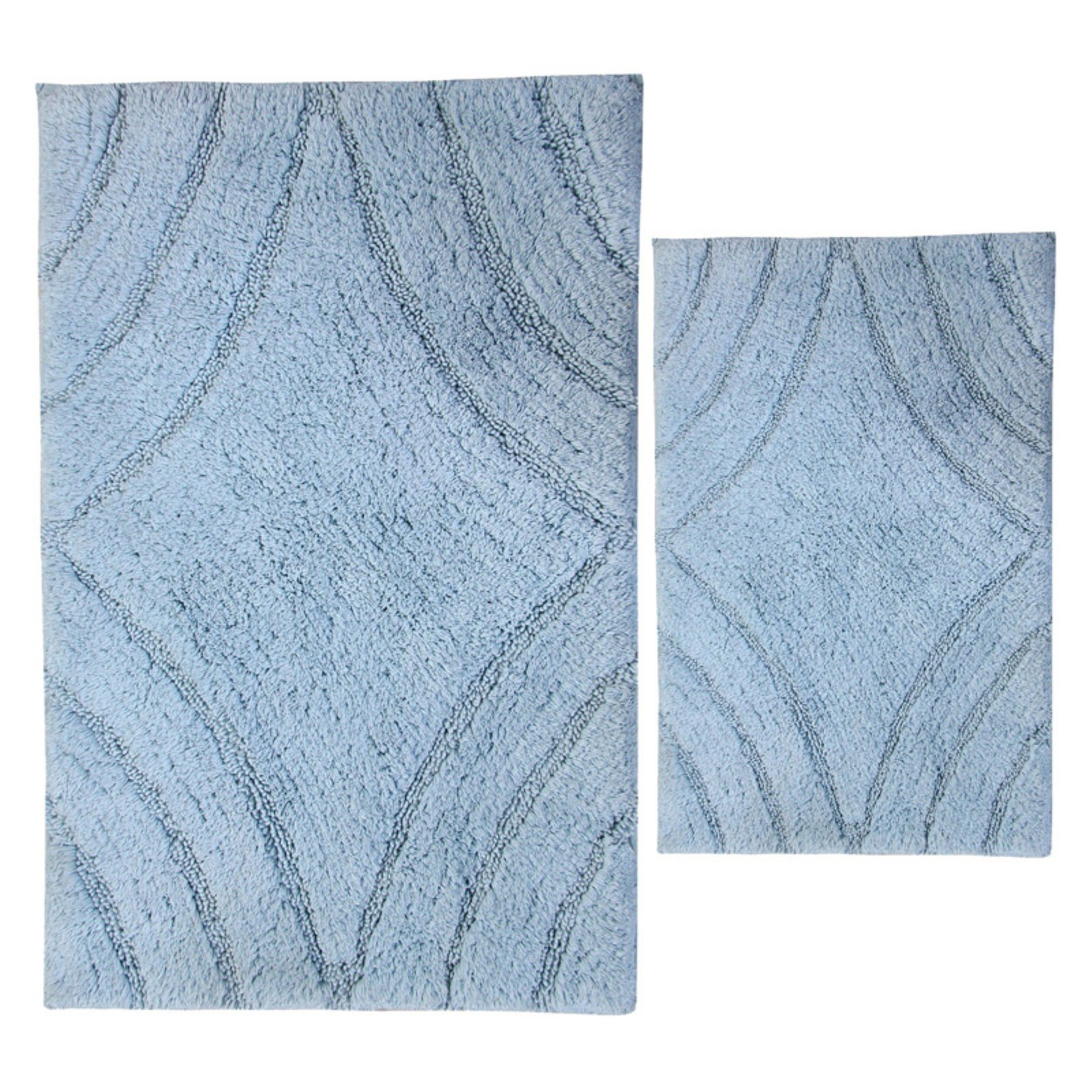 Elegance Collection Diamond Bath Rug - Set of 2