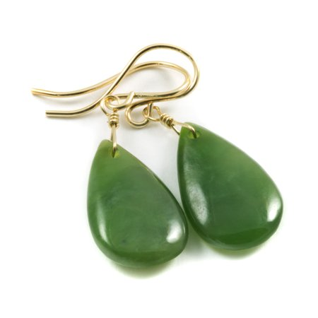 Green Jade Earrings Nephrite Smooth Dainty Teardrops 14k Gold Filled Spyglass Designs