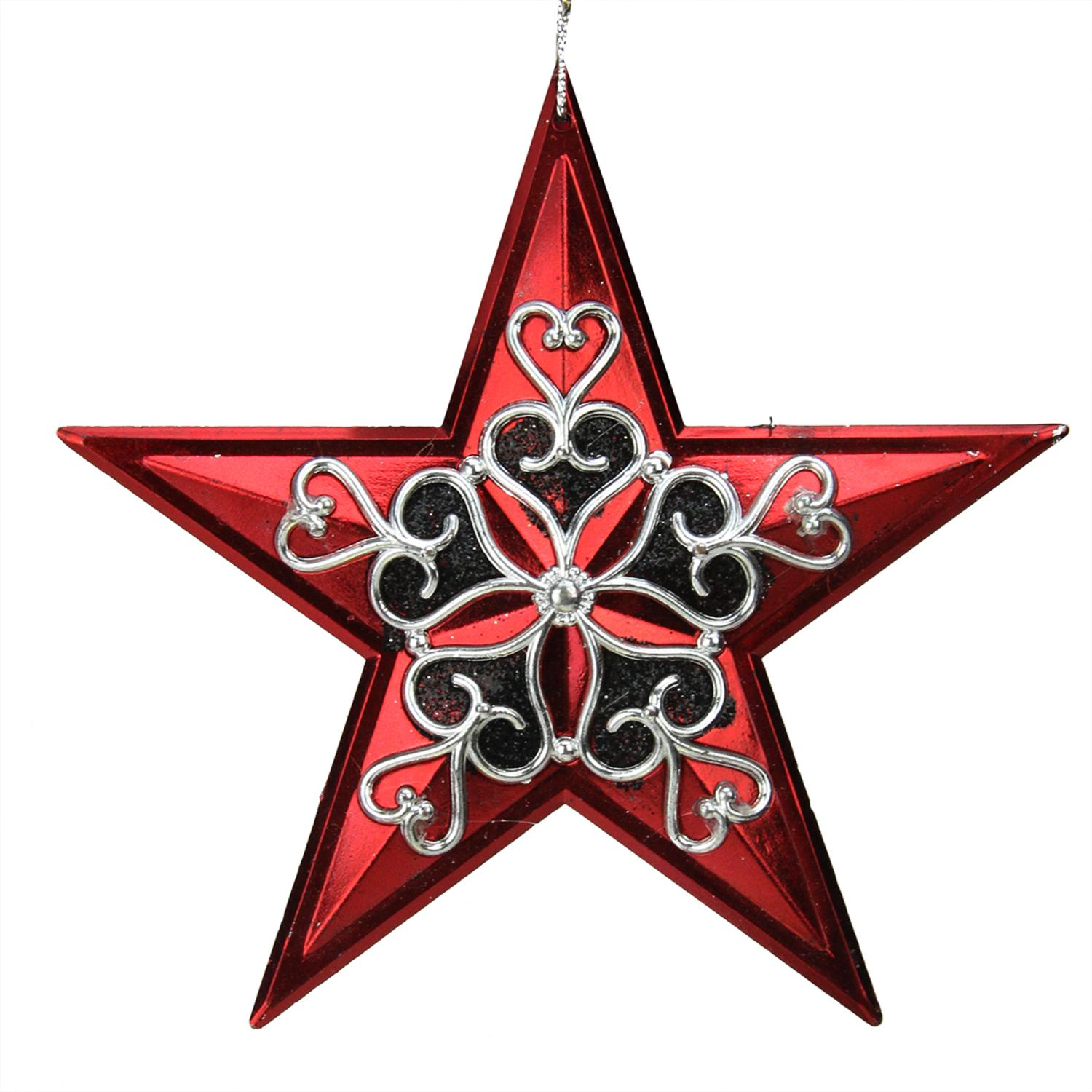 "5"" Red and Black Star with Silver Filligree Star Christmas Ornament"