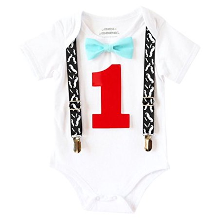 Noah's Boytique Baby Boys First Birthday Mustache Bash Outfit with Aqua Bow and Red Number One 12-18 Months