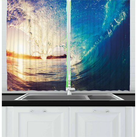 Ocean Curtains 2 Panels Set, Sunrise on Waves Surfer Perspective Surreal Coastal Charm Sports Lifestyle Scene, Window Drapes for Living Room Bedroom, 55W X 39L Inches, Blue Pale Mauve, by Ambesonne ()