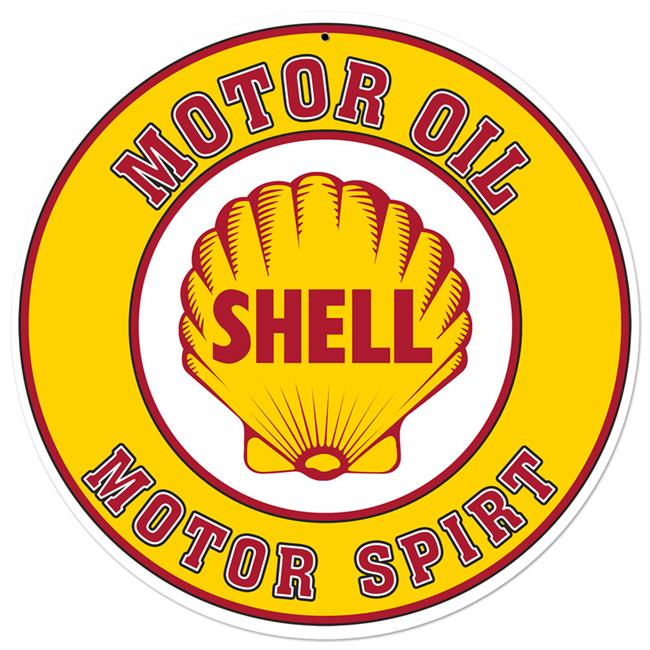 Shell SHL146 28 in. Shell Motor Oil Gasoline Satin Round Metal Sign
