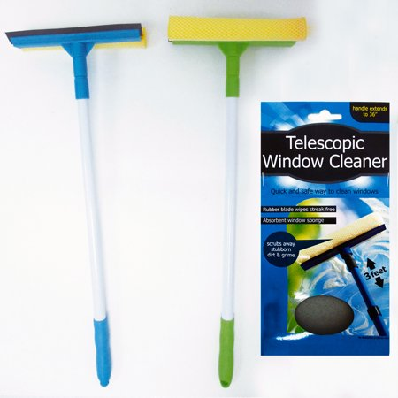 2 Telescopic Extendable Window Cleaner Car Squeegee 3 Ft Washer Wiper Brush New