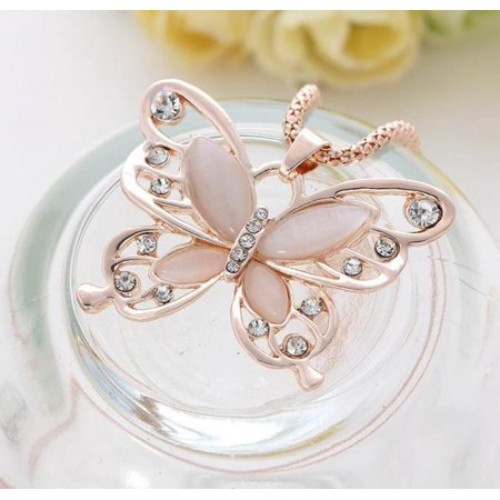 Hot Fashion Women Ladies Rose Gold Opal Butterfly Pendant Necklace Sweater Chain