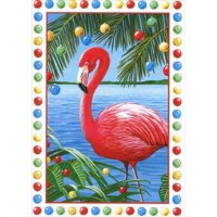 Red Farm Studios Pink Flamingo Box of 18 Tropical Christmas Cards