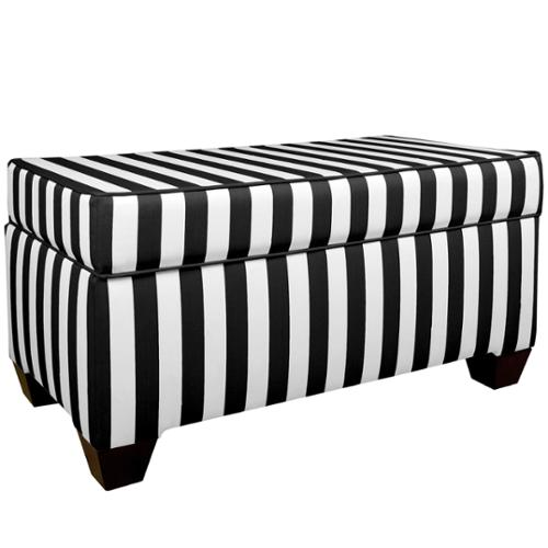 Skyline Furniture Canopy Stripe Black/White Storage Bench
