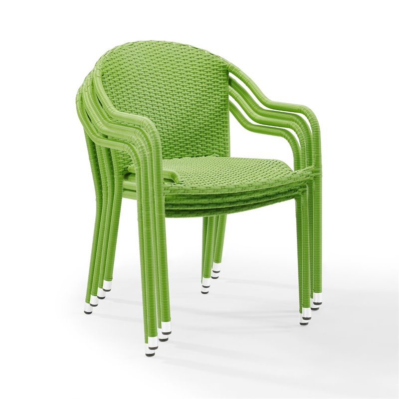 Kingfisher Lane Wicker Patio Stackable Chair in Green (Set of 4)