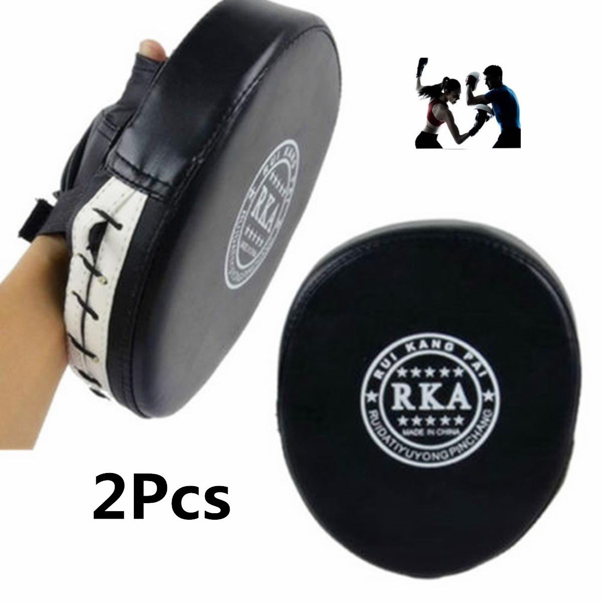 2x Thai Leather Boxing Mitt Training Target boxing Focus Kick MMA Punch Glove Pad Combat Karate Muay