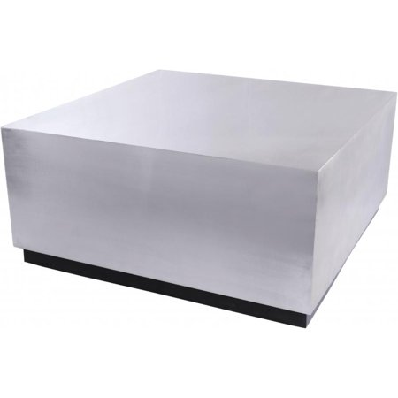 Brushed Chrome Metal w/ Black Base Coffee Table Modern Meridian Furniture Valle