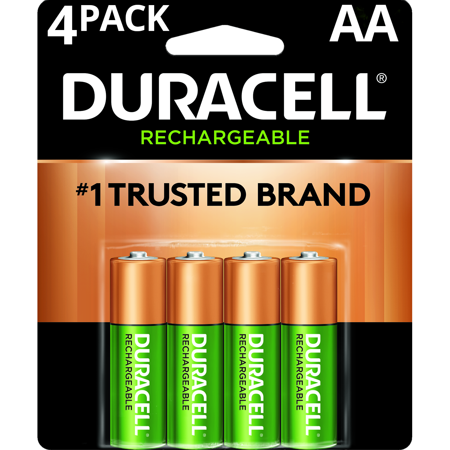 Duracell 1.5V Rechargeable Alkaline AA Batteries, 4 Pack