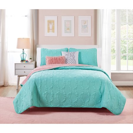 VCNY Home Turquoise Pineapple Sunday 4/5 Piece Bedding Quilt Set ()