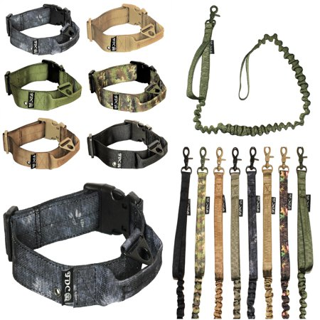 SET of Tactical COLLAR + LEASH Dog Military Army HEAVY DUTY Traning with HANDLE Width 1.5in Plastic Buckle  M: Neck 12