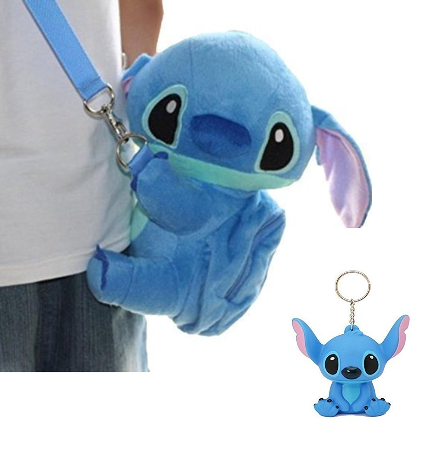 Disney Stitch Gift Set . Soft Plush Crossbody/Shoulder Mini Bag With Mini Pocket + Stitch 3D Keychain.
