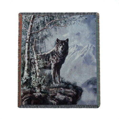 Zingz & Thingz Into the Wild Wolf Polyester and Cotton  Blanket