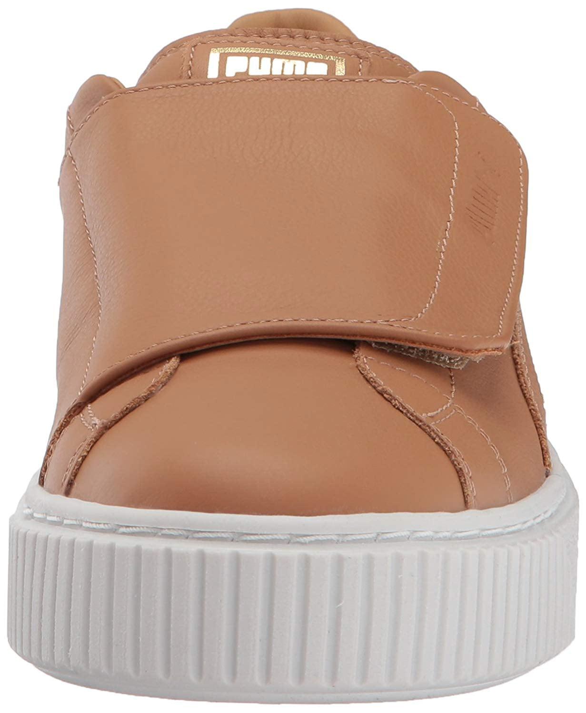 lowest price 03f27 b98d8 PUMA Womens Basket Platform Strap Leather Low Top Pull On ...
