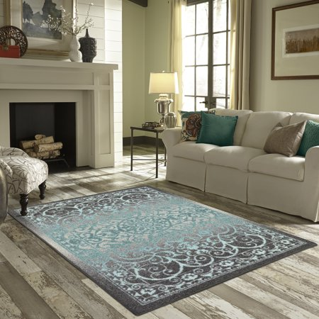 Mainstays India Medallion Textured Print Area Rug and Runner Collection