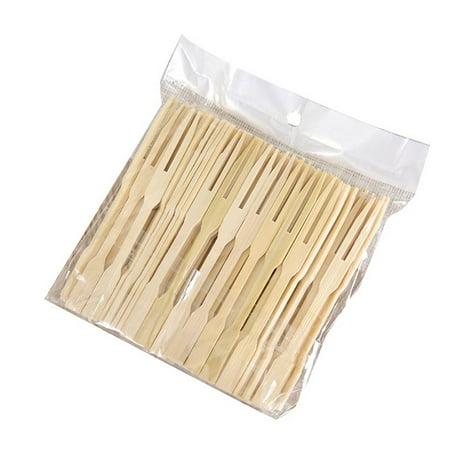 Bamboo Mini Tasting Forks Fruit Picks Party Supplies Portable Cake Fruit Appetizer Dessert Picks - Fruit Appetizers