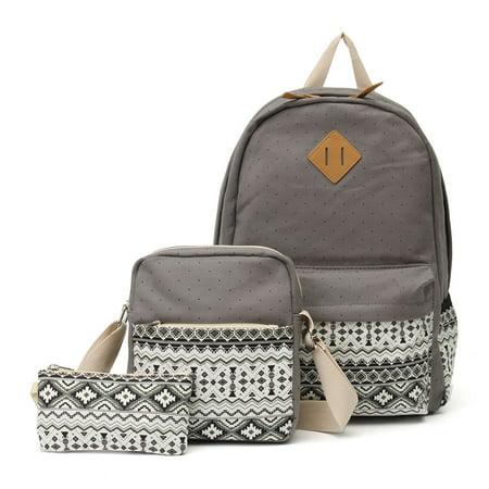 3PCS Canvas School Backpack Travel Bags, School Bag+Cross Body Bag+Wallet for Kids Light Weight Travel Rucksack Fashion Satchel, Blue / Khaki / Purple / Black / (Versace School Bag)