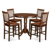 East West Furniture Trenton 5 Piece Slat Back Dining Table Set
