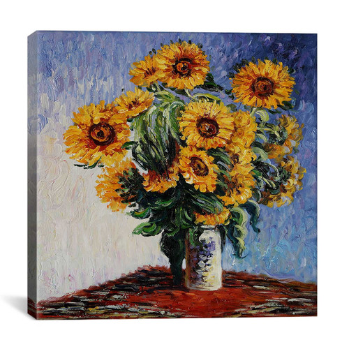 iCanvas ''Sunflowers'' by Claude Monet Painting Print on Wrapped Canvas