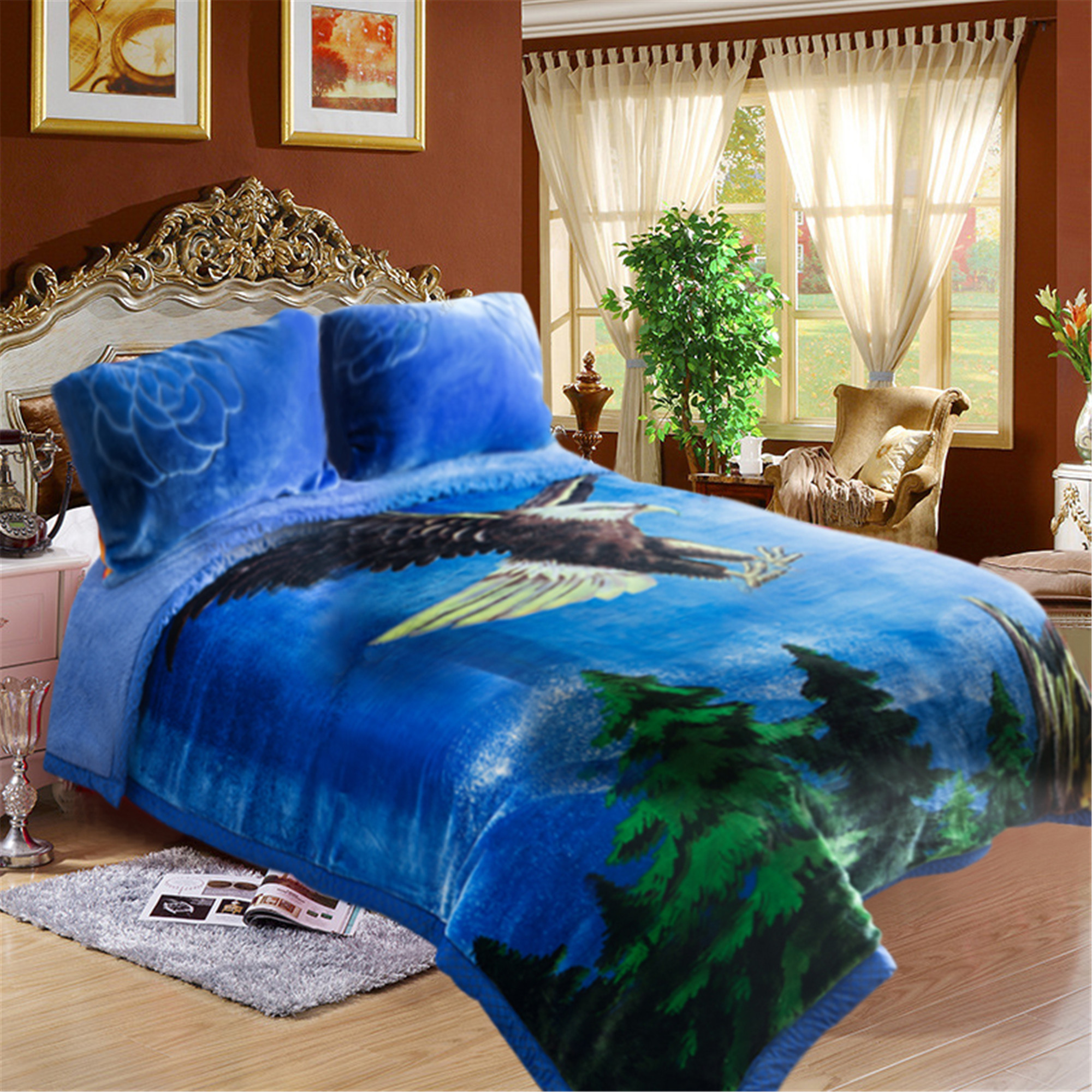 "Heavy Soft Plush Warm Blanket Mink Printed 3 Piece Bedspread For Winter 85""x93"" Blue Eagle Printed"