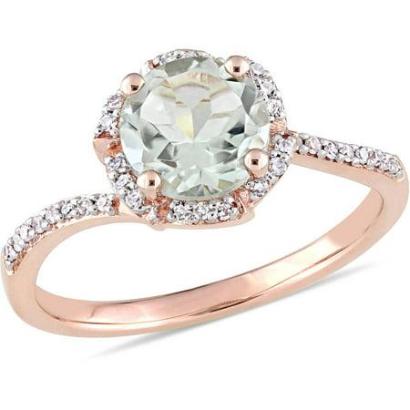 1-1/3 Carat T.G.W. Green Amethyst and 1/10 Carat T.W. Diamond 14kt Rose Gold Halo Ring (Green Amethyst And Diamond Ring)