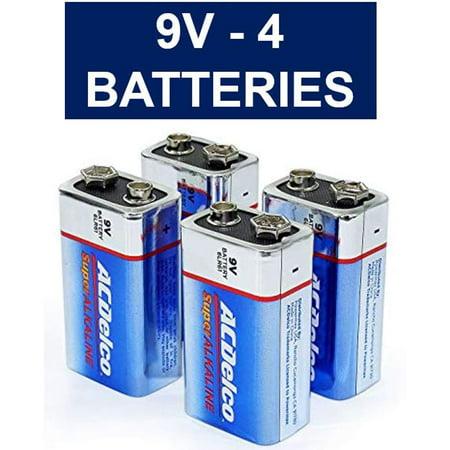 Volt Alkaline Battery (9V Batteries, Super Alkaline 9-Volt Battery, 4-Count )