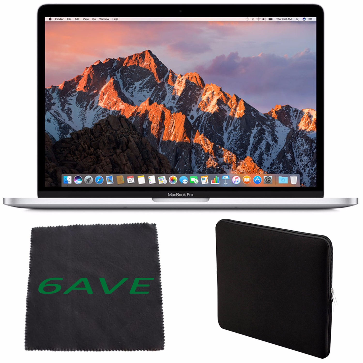 Apple MacBook Pro MNQG2LL/A 13-inch Laptop with Touch Bar (2.9GHz dual-core Intel Core i5, 512GB Retina Display), Silver + Padded Case For Macbook + MicroFiber Cloth Bundle