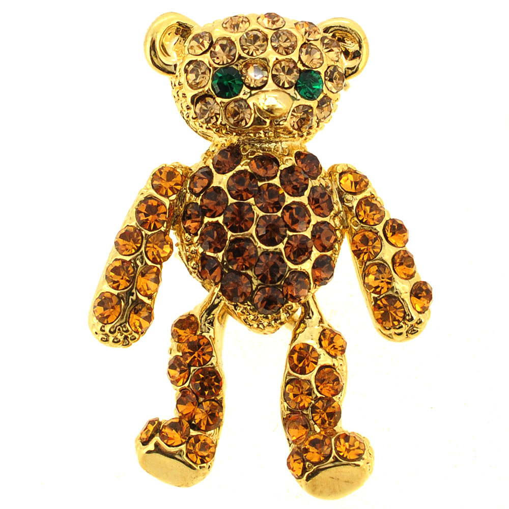 Golden Topaz Brown Teddy Bear Swarovski Crystal Brooch Pin by