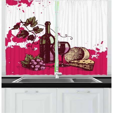 Wine Curtains 2 Panels Set, Vintage Sketchy Artwork Cheese Alcoholic Drink Fruit Abstract Design, Window Drapes for Living Room Bedroom, 55W X 39L Inches, Hot Pink Olive Green Cream, by Ambesonne](Hot Alcoholic Drinks For Halloween)