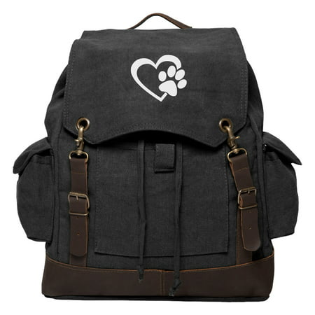 Heart With Dog Paw Puppy Love Vintage Canvas Rucksack Backpack w/ Leather Straps
