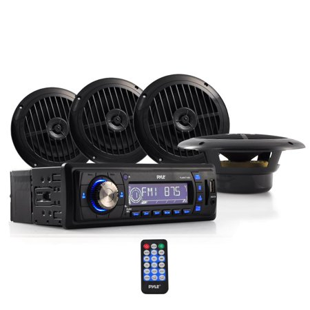 PYLE PLMRKT14BK - Marine Headunit Receiver Speaker Kit - In-Dash LCD Digital Stereo w/AM FM Radio System 6.5'' Waterproof Cone Speakers (4) MP3/USB/SD Readers Aux Input Single DIN & Remote Control (Digital Stereo Graphic)