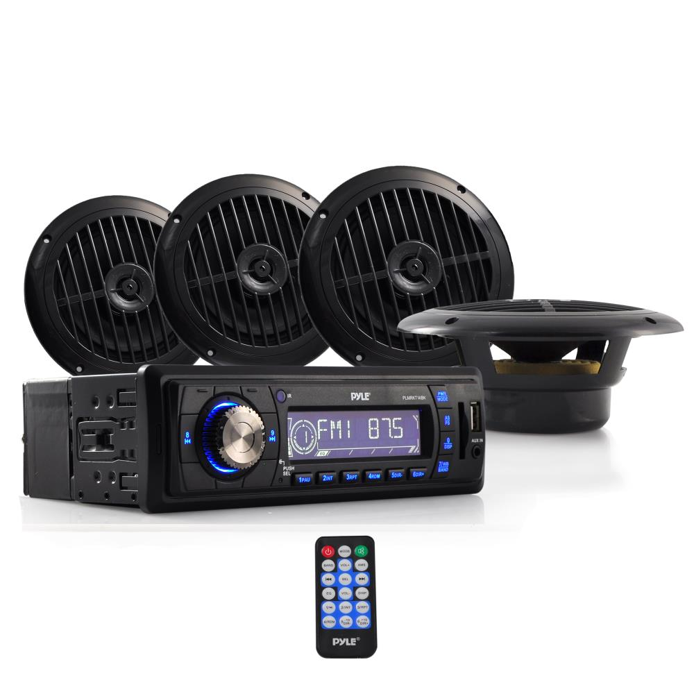 PYLE PLMRKT14BK - Marine Headunit Receiver Speaker Kit - In-Dash LCD Digital Stereo w/AM FM Radio System 6.5'' Waterproof Cone Speakers (4) MP3/USB/SD Readers Aux Input Single DIN & Remote Control