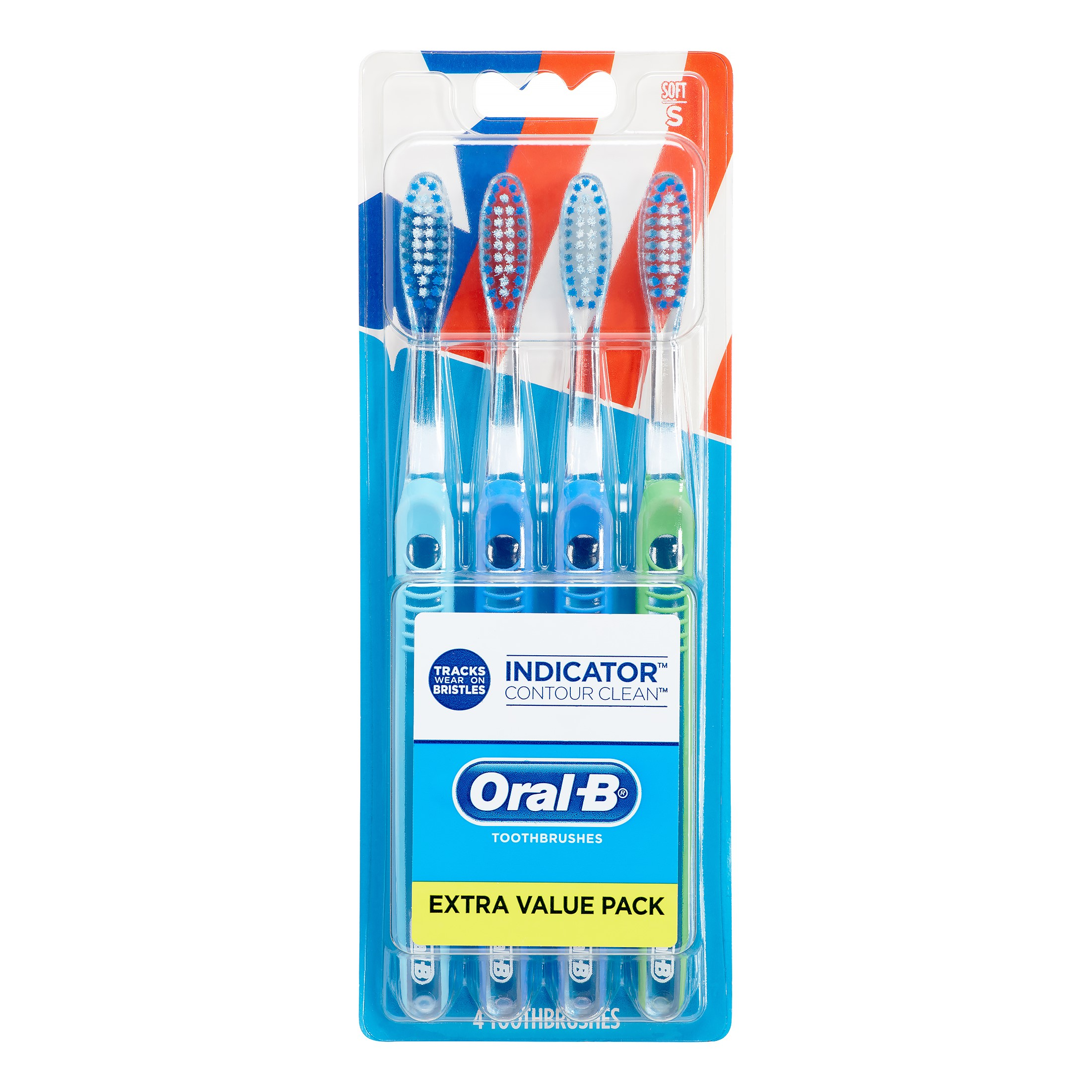 Oral-B Indicator Contour Clean Toothbrushes, Soft Bristles, 4 Count