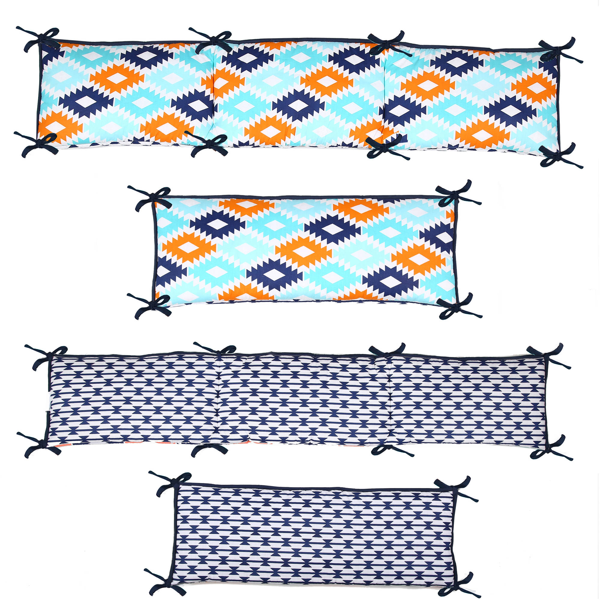 Bacati - Aztec 4-Piece 100% Cotton Percale Crib Secure-Me Bumper Pad, Liam Aqua/Orange/Navy