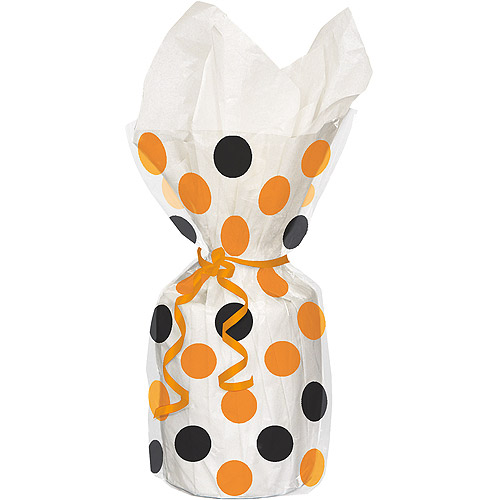 Polka Dot Halloween Cellophane Bags, 11 x 5 in, Orange and Black, 20ct