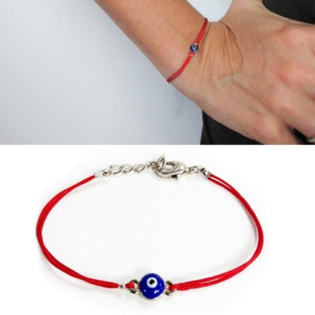 2 Evil Eye Red String Kabbalah Bracelet Mati Nazar Bead Lucky Charm Protection ()
