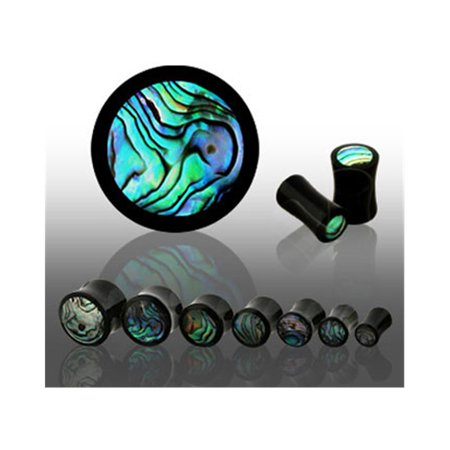 Pair Of Black Horn Plugs With Abalone Shell Inlay,Gauge (Thickness):0 (8.0Mm) (Abalone Plugs)