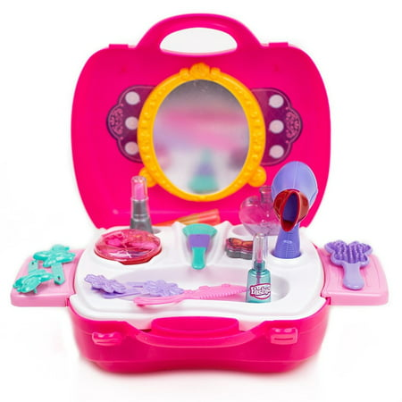 Toysery Pretend Play Cosmetic and Makeup Toy Set Kit for Little Girls & Kids Include 21 Pieces Beauty Salon Toys - Halloween Little Girl Makeup