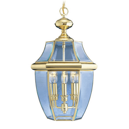 Outdoor Pendants 3 Light Monterey With Clear Beveled Glass Polished Brass size 13 in 180 Watts - World of Crystal