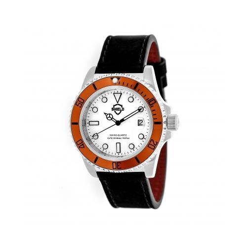 Shield Cousteau Leather-Band Pro-Diver Swiss Watch W/Date - Silver/White/Orange