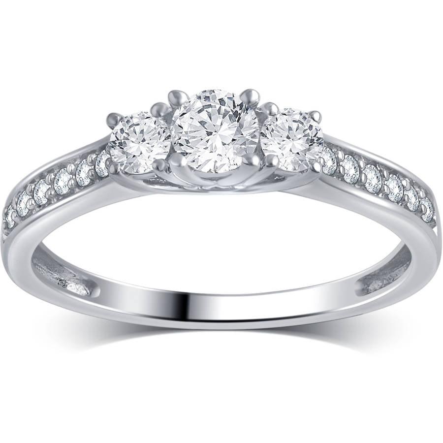1 2 Carat T.W. Round Diamond 10kt White Gold 3-Stone Plus Engagement Ring, I-J I2-I3 by Generic