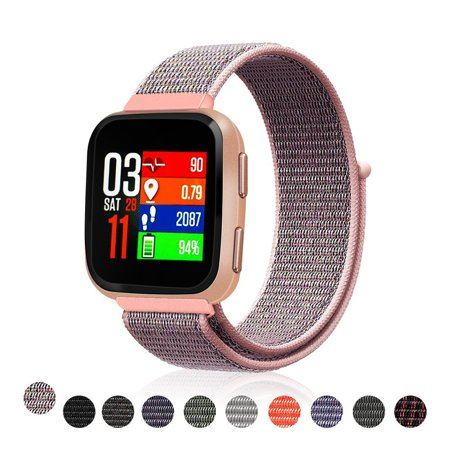Mignova For Fitbit Versa Bands/Versa Lite/Versa Special edition, Woven Soft  Nylon Loop Sport Band Replacement Accessories Wristbands Strap for Fitbit