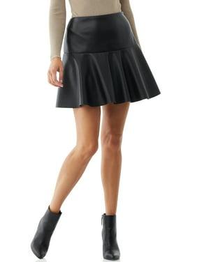 Scoop Women's A Line Vegan Leather Skirt