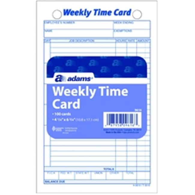 Adams 9616ABF Time Card, weekly, white index bristol, 100...