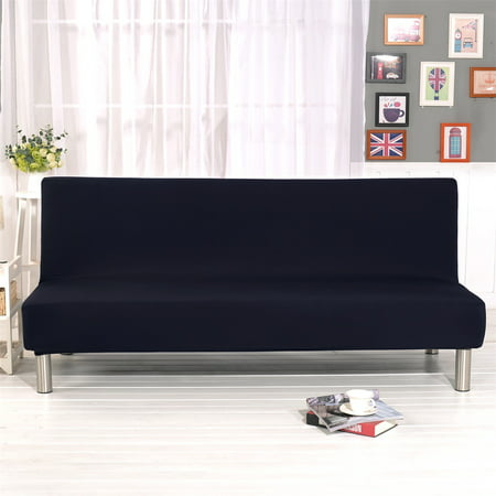 Topchance Folding Sofa Bed Cover Stretch Fabric Sofa Slipcovers Furniture Protector Solid Color Futon Armless Slipcover Polyester Elastic Fabric All-Inclusive Cover
