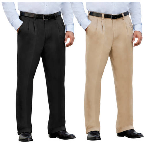 George Men's Premium Pleat Front Khaki Pants, 2 Pack
